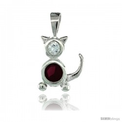 Sterling Silver July Birthstone Cat Pendant w/ Ruby Color Cubic Zirconia