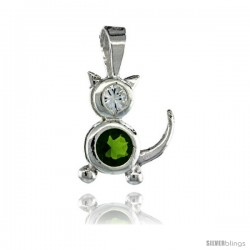 Sterling Silver August Birthstone Cat Pendant w/ Peridot Color Cubic Zirconia