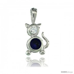 Sterling Silver September Birthstone Cat Pendant w/ Blue Sapphire Color Cubic Zirconia
