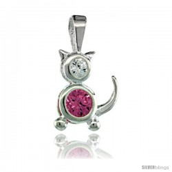 Sterling Silver October Birthstone Cat Pendant w/ Pink Tourmaline Color Cubic Zirconia