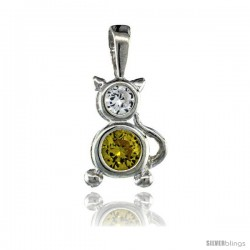 Sterling Silver November Birthstone Cat Pendant w/ Citrine Color Cubic Zirconia