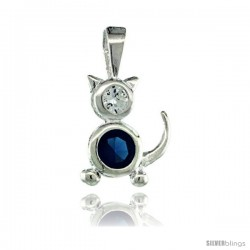 Sterling Silver December Birthstone Cat Pendant w/ Blue Topaz Color Cubic Zirconia