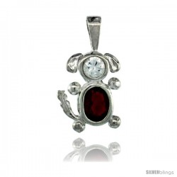 Sterling Silver January Birthstone Dog Pendant w/ Garnet Color Cubic Zirconia