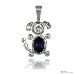 Sterling Silver February Birthstone Dog Pendant w/ Amethyst Color Cubic Zirconia