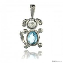 Sterling Silver March Birthstone Dog Pendant w/ Aquamarine Color Cubic Zirconia