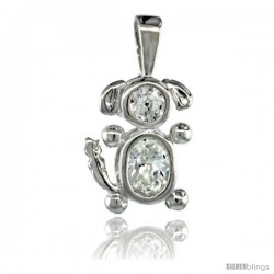 Sterling Silver April Birthstone Dog Pendant w/ Clear Color Cubic Zirconia