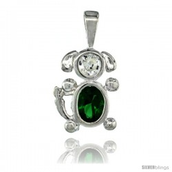 Sterling Silver May Birthstone Dog Pendant w/ Emerald Color Cubic Zirconia