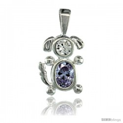 Sterling Silver June Birthstone Dog Pendant w/ Alexandrite Color Cubic Zirconia