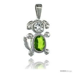 Sterling Silver August Birthstone Dog Pendant w/ Peridot Color Cubic Zirconia