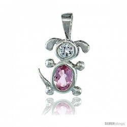 Sterling Silver October Birthstone Dog Pendant w/ Pink Tourmaline Color Cubic Zirconia