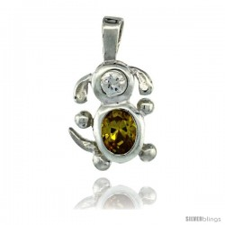 Sterling Silver November Birthstone Dog Pendant w/ Citrine Color Cubic Zirconia