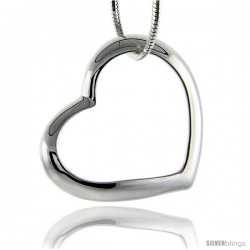 Beautiful Sterling Silver Classic Valentine Floating Heart, 7/8 in. long X 1 in. wide