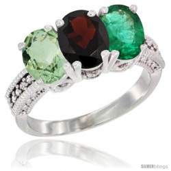 14K White Gold Natural Green Amethyst, Garnet & Emerald Ring 3-Stone 7x5 mm Oval Diamond Accent
