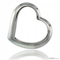 Beautiful Sterling Silver Classic Valentine Floating Heart, 5/8 in X 3/4 in