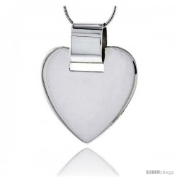 "Sterling Silver High Polished Heart Pendant, 1 1/8"" (29 mm) tall, w/ 18"" Thin Snake Chain"