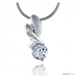 "High Polished Sterling Silver 11/16"" (17 mm) tall ""XO"" Hugs & Kisses Pendant, w/ 6mm Brilliant Cut CZ Stone, w/ 18"" Thin Box"