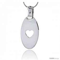 "Sterling Silver High Polished Oval Pendant, w/ Heart Cut Out, 1 1/4"" (32 mm) tall, w/ 18"" Thin Snake Chain"