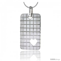 "Sterling Silver High Polished Checker Board Pattern Rectangular Pendant, w/ Heart Cut Out, 1 5/8"" (35 mm) tall, w/ 18"" Thin"