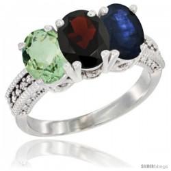 14K White Gold Natural Green Amethyst, Garnet & Blue Sapphire Ring 3-Stone 7x5 mm Oval Diamond Accent