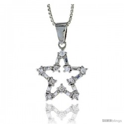 "Sterling Silver Cut Out Star Pendant w/ Baguette & Round CZ Stones, 3/4"" (19 mm) tall"