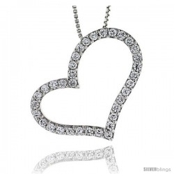 Sterling Silver CZ Cut Out Heart Pendant Slide, 1 1/4 in. (32 mm) tall