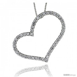 Sterling Silver CZ Cut Out Heart Pendant Slide, 1 11/16 in. (43.5 mm) tall
