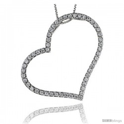 Sterling Silver CZ Cut Out Heart Pendant Slide, 2 in. (51 mm) tall