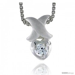 "High Polished Sterling Silver 1/2"" (13 mm) tall Teeny Heart Pendant, w/ 3mm Brilliant Cut CZ Stone, w/ 18"" Thin Box Chain"
