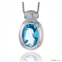 "High Polished Sterling Silver 15/16"" (23 mm) tall Oval-shaped Pendant, w/ Oval Cut 12x9mm Blue Topaz-colored CZ Stone, w/ 18"""