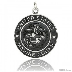 "Sterling Silver U.S. Marine Corps Eagle Globe Anchor Medal, 1 5/16"" (33 mm) tall"