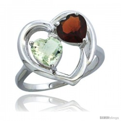 14k White Gold 2-Stone Heart Ring 6mm Natural Green Amethyst & Garnet Diamond Accent, Diamond Accent