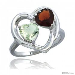 14k White Gold 2-Stone Heart Ring 6mm Natural Green Amethyst & Garnet Diamond Accent, Diamond Accent