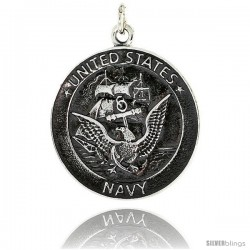 "Sterling Silver U.S. Navy Medal, 1 1/4"" (32 mm) tall"