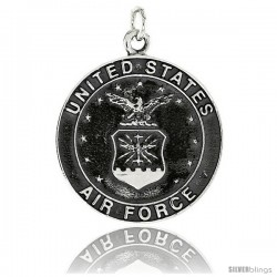"Sterling Silver U.S. Air Force Medal, 1 1/4"" (32 mm) tall"
