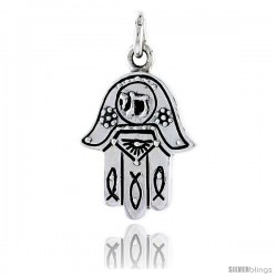 "Sterling Silver Hamsa ""Hand of God"" Pendant, 7/8"" (22 mm) tall"