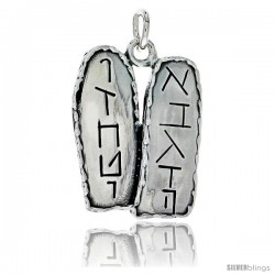 "Sterling Silver Ten Commandments Tablets w/ Hebrew Letters, 1"" (25 mm) tall"