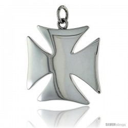 "Sterling Silver High Polished Cross Pattee Pendant, 1 1/4"" (31 mm) tall"