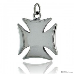 """Sterling Silver Maltese Iron Cross, 15/16"""" (24 mm) tall"""