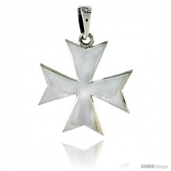 "Sterling Silver High Polished Maltese Iron Cross Pendant, 1 1/16"" (27 mm) tall"