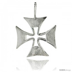 "Sterling Silver Maltese Iron Cross, 1"" (25 mm) tall"