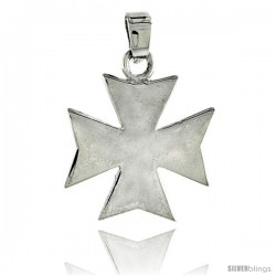 "Sterling Silver High Polished Maltese Iron Cross, 7/8"" (22 mm) tall"