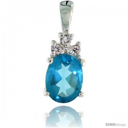 Sterling Silver Oval-shaped March Birthstone CZ Pendant, w/ 9x7mm Oval Cut Aquamarine-colored Stone & Brilliant Cut Clear