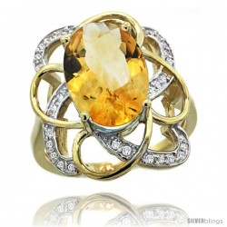14k Gold Natural Citrine Floral Design Ring 13x 19 mm Oval Shape Diamond Accent, 7/8inch wide