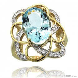 14k Gold Natural Aquamarine Floral Design Ring 13x 19 mm Oval Shape Diamond Accent, 7/8inch wide