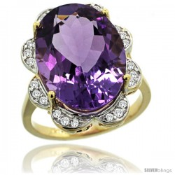 14k Gold Natural Amethyst Ring 18x13 mm Oval Shape Diamond Halo, 3/4inch wide