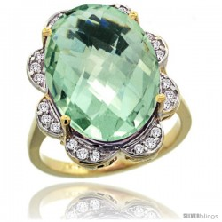 14k Gold Natural Green Amethyst Ring 18x13 mm Oval Shape Diamond Halo, 3/4inch wide