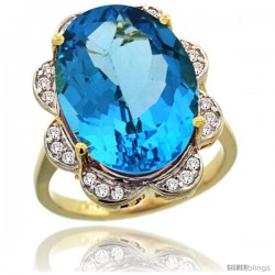 14k Gold Natural Swiss Blue Topaz Ring 18x13 mm Oval Shape Diamond Halo, 3/4inch wide