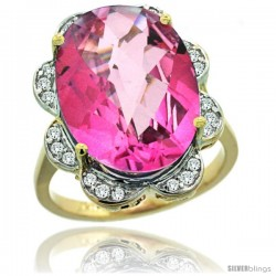 14k Gold Natural Pink Topaz Ring 18x13 mm Oval Shape Diamond Halo, 3/4inch wide