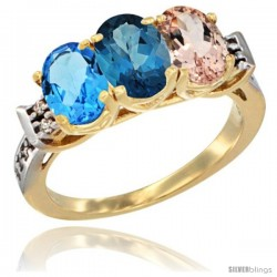 10K Yellow Gold Natural Swiss Blue Topaz, London Blue Topaz & Morganite Ring 3-Stone Oval 7x5 mm Diamond Accent