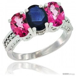 10K White Gold Natural Blue Sapphire & Pink Topaz Sides Ring 3-Stone Oval 7x5 mm Diamond Accent